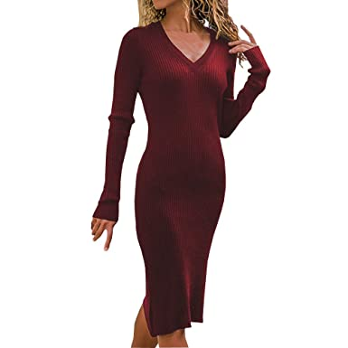 f31abba8d85 Amazon.com  JPOQW Women s Sweater Dress Long Sleeve Solid Color V-Neck Slim  Skinny Pencil Knee-Length Knit Dress  Clothing