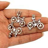 10 pcs Bicycle Pendant Pearl Beads Cage Locket