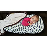 Sleep Zzz Bedtime Pillow w/ removable washable cover- Green and Blue Chevron