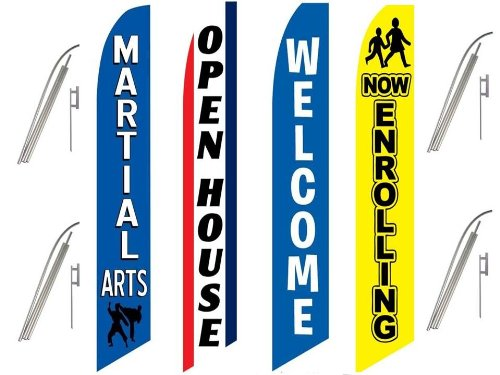 4 Swooper Flags & Pole Kits Martial Arts School Welcome Enroll Open House Blue