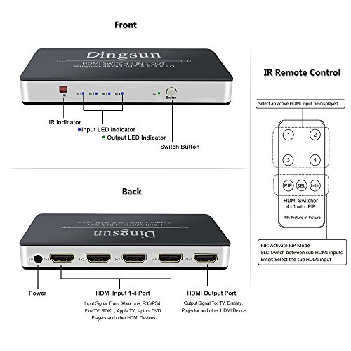 HDMI Switch, 4 Port HDMI Switch with Remote, HDMI Port, HDMI Switch Box Support Remote Control, 4K, 1080P, 3D (4 x 1 HDMI Switch with PIP)