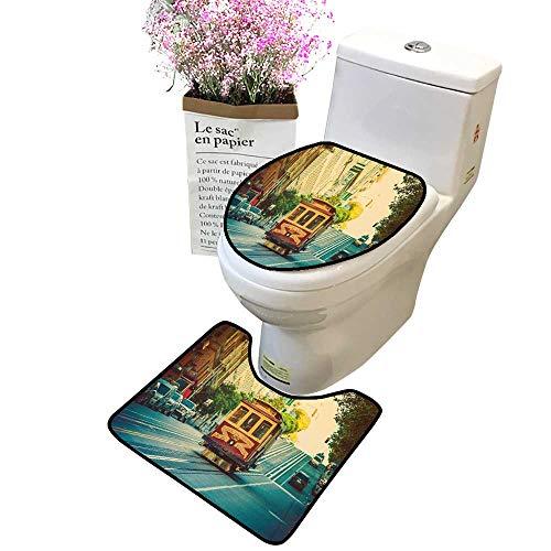 Bathroom Rug Toilet Sets Vintage Cable car in S Fr Cisco, California Toilet lid 2 Piece Bathroom Mat Set Decoration