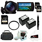 "Sony HDRCX900/B HD Video Camera w/ 1"" sensor + Sony 32GB SD Card (Two) + Sony 64GB SD Card + Tiffen 62mm UV Filter + Two Wasabi Power Replacement Battery for Sony NP-FV70 + Accessory Kit"