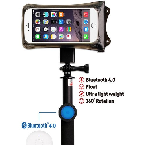 DiCAPac Waterproof Action Case + Bluetooth Floating Selfie Stick Kit for Smartphone up to 5.1''