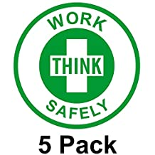 "5 Pcs Optimum Popular Think Work Safely Vinyl Sticker Sign Self-Adhesive Safe Shop Hard Hat Decor Size 2"" Color Green on White"