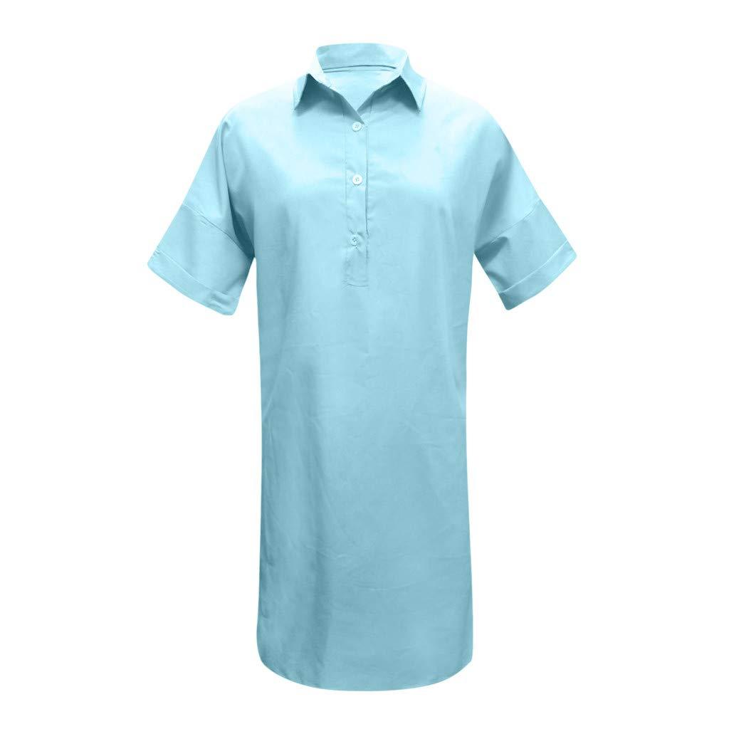 Nuewofally Shirt Dresses for Women Casual Solid Dress Button Open Cutout Sundress Fashion Vintage Dress Plus Size(Blue,S)