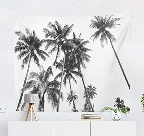 threetothree White Tapestry Wall Hanging, WallDecor Black and White Silhouettes Tropical Coconut Palm Trees Wall Tapestry for Bedroom Living Room DormDecor 50x60 Inches
