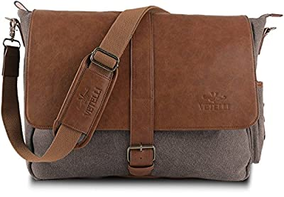 "Vetelli Laptop / Computer / Messenger / Tablet Bag with scratch protection lining for laptops or Macbooks up to 15.6"". Leather + Charcoal Grey Canvas - Large size bag: 19.5"" x 12.5"" x 4.5"""