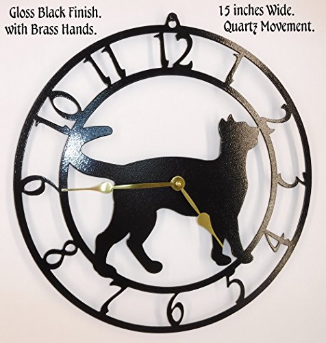 Wall Metal Cat Clock (Cat Wall Clock. Kitten. Gloss Black with Brass Hands. Handmade in USA. Quartz Timepiece.)