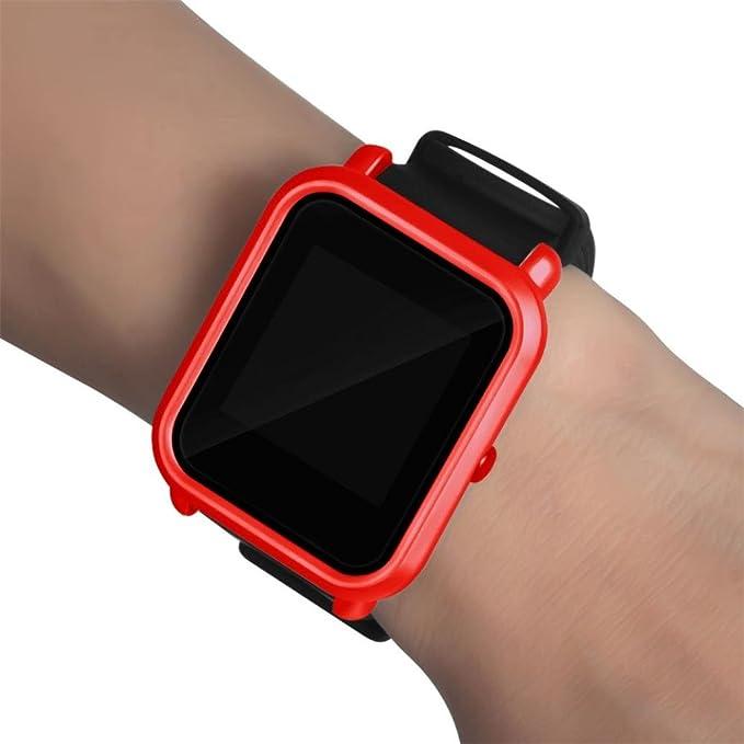 Moda Slim Colorido Marco Caso Cubierta Proteger Shell para Xiaomi Huami Amazfit bip younth Watch (Rojo)