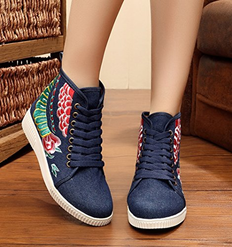 AvaCostume Womens Embroidery Flats Lace-up Casual Walking Shoes Navy IOtHSOKyrL