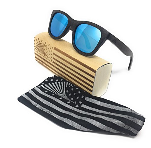 Polarized & Floating Bamboo Wood Wayfarer Sunglasses | Loudmouth Patriot - Sunglasses Sustainable