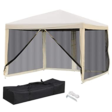 Yaheetech 10 x 10 FT Pop up Privacy Shade Canopy Mesh Tent Outdoor Canopy Panel Tent Beige w/Carry Bag