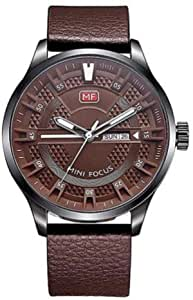 Mini Focus Leather Casual Watch For Men  - Brown Silver, Bu0028G