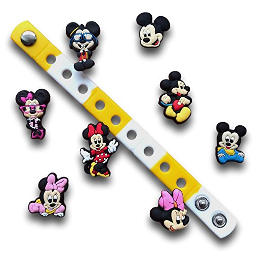 Jibbitz for Crocs Shoes| Shoe Charms Accessories for Crocs & Bracelet Wristband by Nenistore| Disney (8pcs) FREE 01 Silicone Wristband 7 Inches (Mickey and Minie) by Nenistore