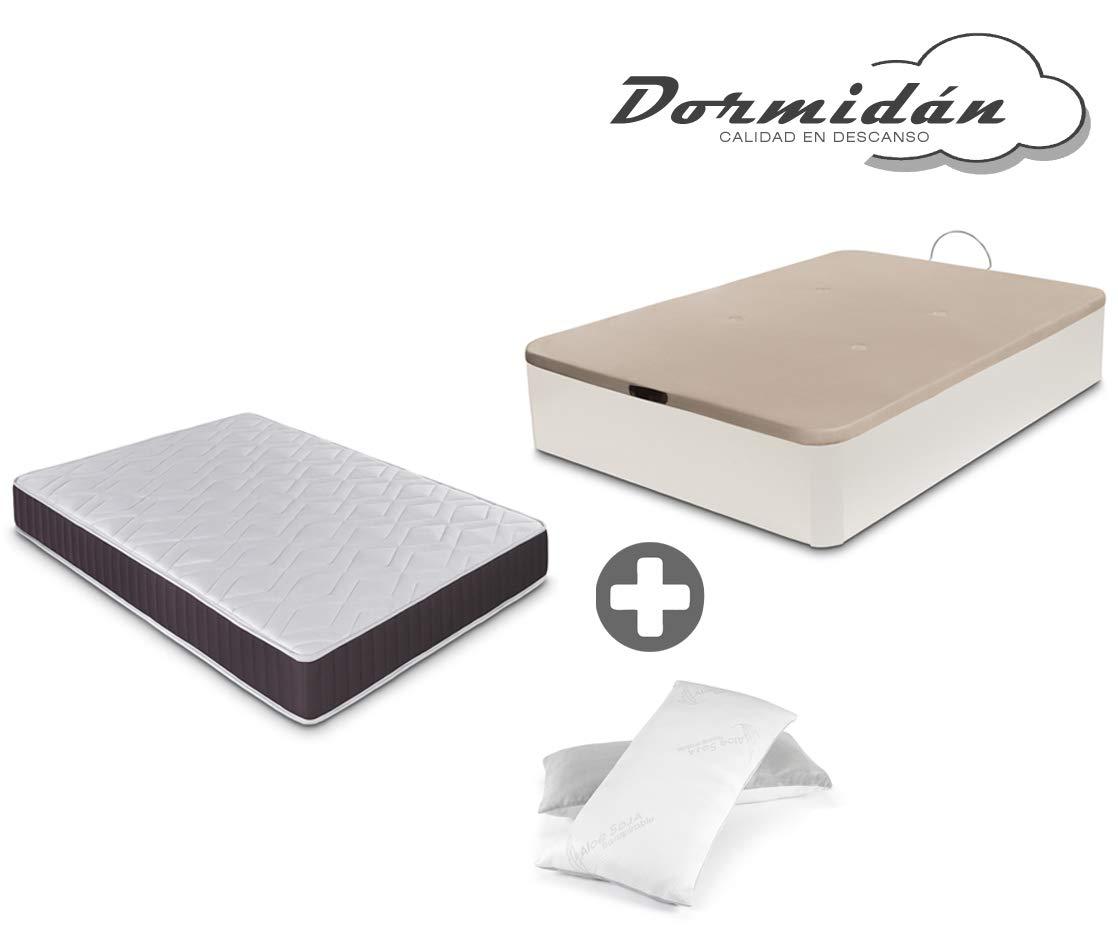 Dormidán - Pack de canapé abatible de Gran Capacidad + colchón viscoelástico + Almohada visco Copos de Regalo (90_x_190_cm, Blanco): Amazon.es: Hogar