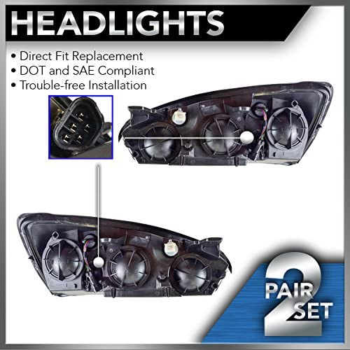 20-6494-00 20-6493-00 Pair Headlights Assembly W// Bulb For 04-07 Chevy Malibu