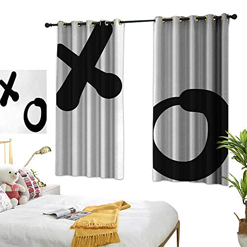 Bedroom Curtain W72 x L45 Xo,Love and Friendship Expression Letters Symbolic Icons Simplistic Artistic Pattern,Black and White Living Room Dining Room Kids Youth Room Window Drapes ()