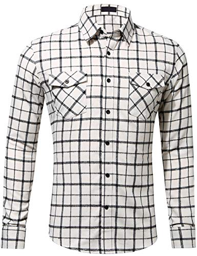 DOKKIA Men's Dress Buffalo Plaid Checkered Fitted Long Sleeve Flannel Shirts (Ivory Beige Black, Medium)