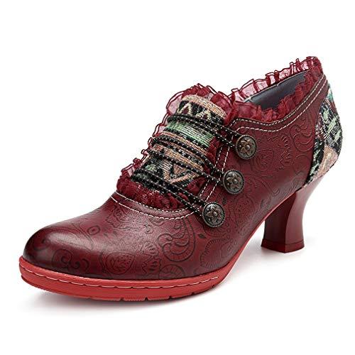 inverno Donna 36 Vino Rosso Con Stile Shoes Size Retro Ladies Scarpe Pelle Da Single In Lace E Fashion Europeo Autunno Americano Handmade Bicchiere Hy Heel 42 qnwE4Ygzg