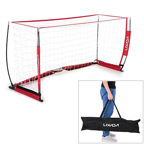 Lixada Soccer Goal 6.6×3.3ft Portable Detachable Bow Net Fiberglass Pole Soccer Practice Net for Kids Playground Backyard (Style 2) For Sale