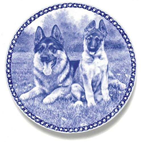 Shepherd Dog Plate - German Shepherd Dog - Dog Plate made in Denmark from the finest European Porcelain. Premium Quality and Design from Lekven. Perfect Gift For all Dog Lovers. Size - 7.61 inches.