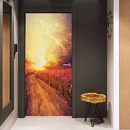 (Door Wall Sticker Scenery Floral Theme Landscape of Cosmos Flower Field in Sky Sunset Illustration Mural Wallpaper W36 x H79 Orange and Yellow)