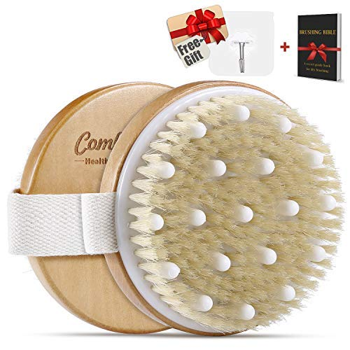 Dry Brushing Body Brush - Cellulite Massager Best for Get Rid of Cellulite, Glowing Skin, Dry Skin Exfoliating, Improves Lymphatic & Stimulates Blood Functions, with Massage Nodes & Natural Bristles Comfy Mate