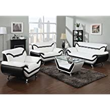 Modern Contemporary Luxury Living Room Rozene white black sofa loveseat couch contemporary bonded leather Furniture