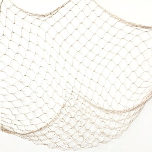 Creamy White Fishing Net Beach Theme Decor for Party Home Living Room Bedroom 78 Inch Mediterranean Style Decor Wall Decoration]()