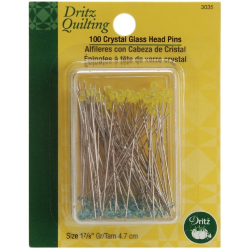 Dritz 3035 Crystal Glass Head Pins, 1-7/8-Inch - Yellow Pins Quilting