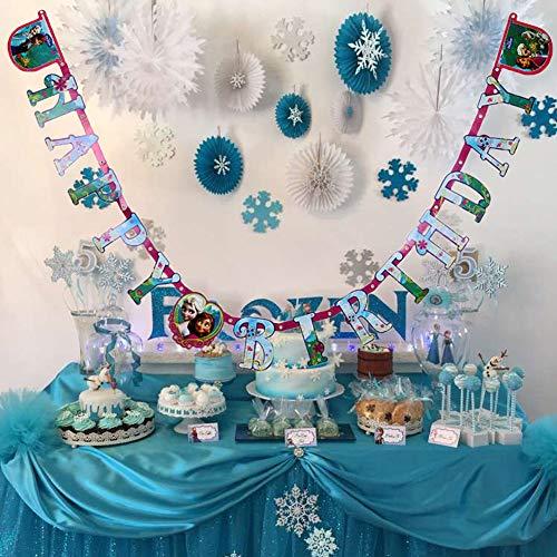 Samahara Frozen Happy Birthday Party Banner Disney Princess Birthday Party Decorations -