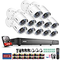ANNKE 16-Channel Security System 1080P HD-TVI DVR Recorder with 4TB Surveillance Hard Disk Drive and (12) 2.0Mega-Pixels 1920TVL Weatherproof Cameras