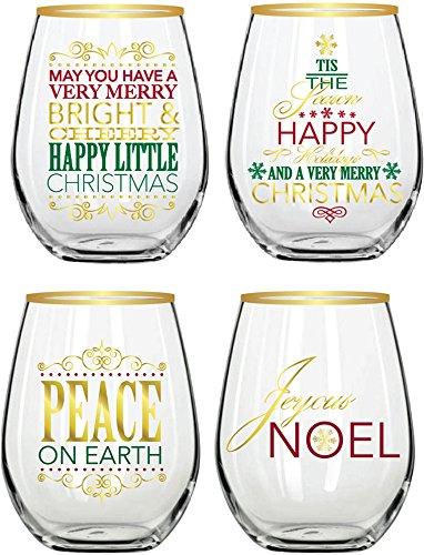 Christmas Drinking Glasses (Elegant Home Set of Four (4) Holiday Festive Christmas Stemless Wine)