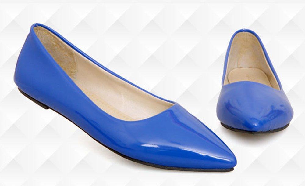 Aisun Damen Spitz Geschlossen Süß Lackleder Flach Schuhe Blau 40 EU vO6EVo5J