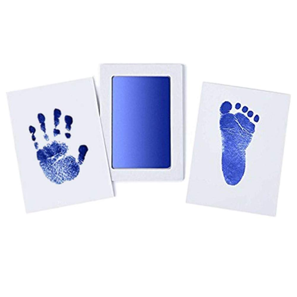 BabyClean Touch Handprint and Footprint Kit | includes Ink Pad and two imprint cards | Inkless - babyskin has no contact with the ink | (Blue) … Junxave