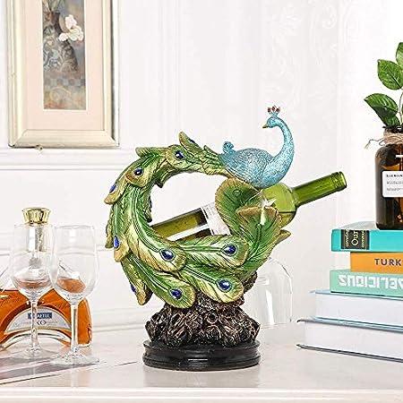 Estantería de vino Titular de la botella de vino decorativa, clásica del pavo real estante del vino Decoración Creativa Europea conveniente for el hogar Sala de estar Modelo regalo Servicio de habitac