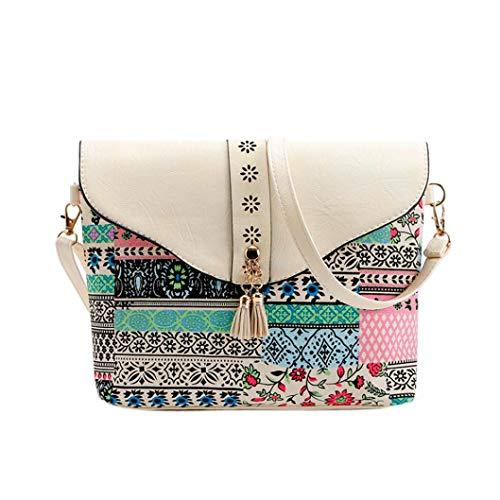 Flower Bag Bag Handbags Women Bafaretk Square WHITE Fashion Bag Shoulder Print Pattern Messenger qXwPpEpSB