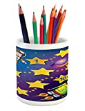 Ambesonne Kid's Activity Pencil Pen Holder, Space Themed Educational Numbers Game Astronaut Reaching to the Spaceship, Printed Ceramic Pencil Pen Holder for Desk Office Accessory, Multicolor