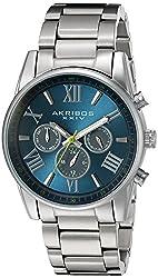 Akribos XXIV Men's Swiss Quartz Multi-Function Silver-Tone Accented Blue Sunray Dial with Silver-Tone Stainless Steel Bracelet Watch AK912SSBU