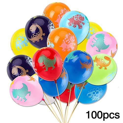 100pcs Dinosaur Birthday Balloons - Party Pack Jurassic World Dinosaur Style Multicolored Balloons for Children ()