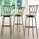 Bar Stools Set of 3 Home Creek Scrolled Detail Adjustable Swivel Barstools - Set of 3