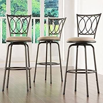 Home Creek Scrolled Detail Adjustable Swivel Barstools – Set of 3
