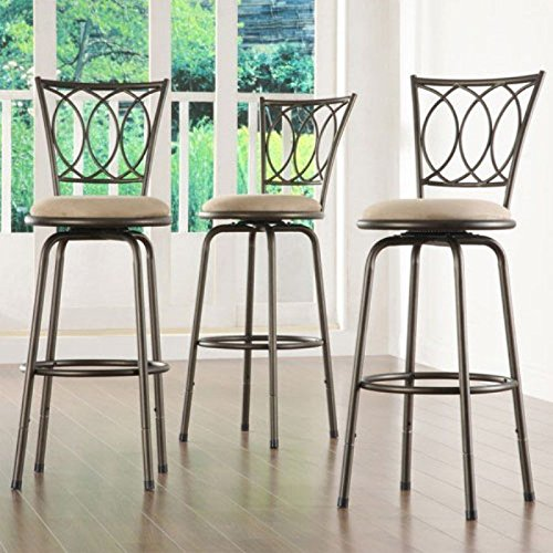 Home Creek Scrolled Detail Adjustable Swivel Barstools - Set of 3 by Home Creek
