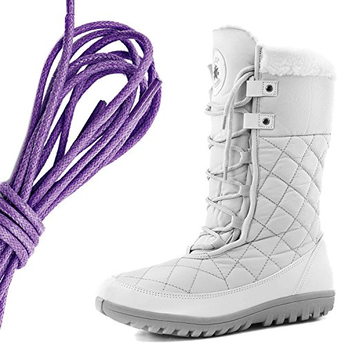 DailyShoes Womens Comfort Round Toe Mid Calf Flat Ankle High Eskimo Winter Fur Snow Boots, Purple Ivory White