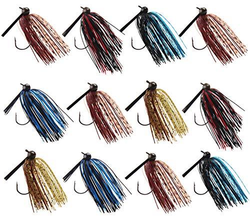 JSHANMEI Fishing Jigs Skirt Spinnerbait Fishing Bass Lures Bait Swim Jig Kit (3/8oz, 12pcs)