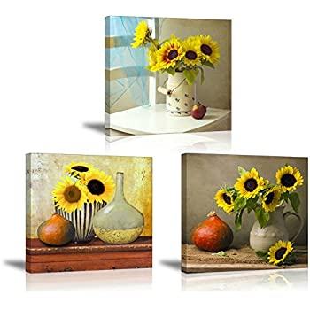 SZ HD Sunflower Wall Art, Beautiful Floral Still Life Canvas Prints Wall  Decor For Bedroom Part 53