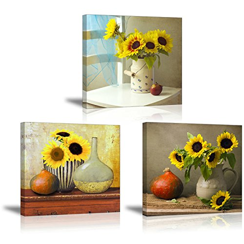 Sunflower Kitchen Wall Decor, SZ HD Still Life Oil Painting Canvas Art Prints of Bright Blooming Floral Illustration (Set of 3, Waterproof Artwork, 1