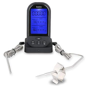 Cadrim Termómetro Digital Inalámbrico con Temporizador y Temperatura de Alarma para Barbacoa, Parrilla, Horno