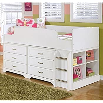 Amazon Com Lulu Soft White Twin Size Wood Loft Bed W Storage Drawers Amp Bookshelf Kitchen Amp Dining